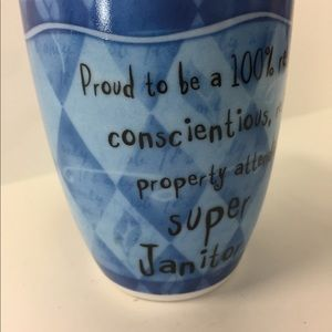 "Fine Porcelain Coffee Tea Mug ""Super Janitor """